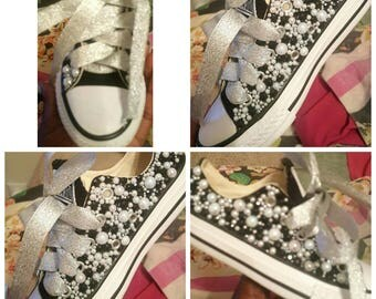 Black and pearl bedazzled converses