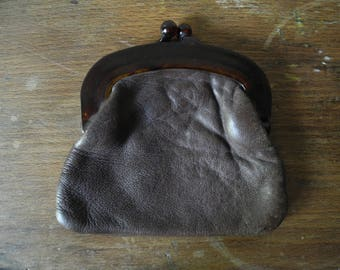 French vintage purse brown leather