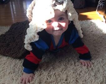 Hooded crochet puppy blanket