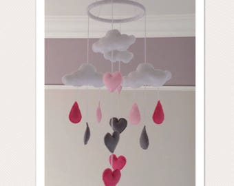 Clouds, Hearts and Raindrops handmade felt mobile
