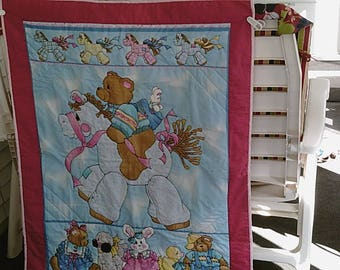 Teddy Rocking Horse Baby Quilt