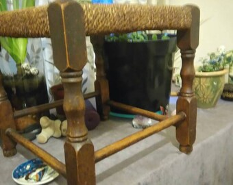 Vintage Wicker top wooden stool, foot stool, foot rest, 1930s,  1950s