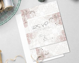 Elegant Floral and Damask Wedding Invitation with RSVP and Band - Sample