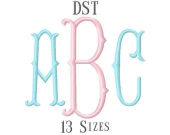 13 SIZE DST Fonts Fishtail Monogram Embroidery Fonts Embroidery Designs Embroidery Alphabets Letters Monogram Fonts - Instant Download