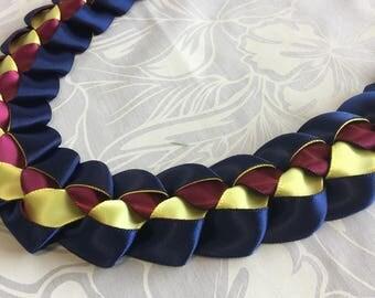 Hawaiian Ribbon Lei Hawaii Hula Graduation Present  Braid Royal Plum Canary Aloha