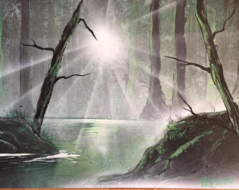 nature scene painting poster A3 spray paint art wall decoration forest trees lake gift