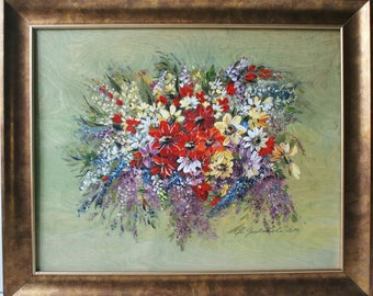 Painting Acrylic, Painting Flowers, Painting Art, Acrylic Painting, Flowers on Plywood, Painting Bouquet, Painting on Plywood, Home Decor