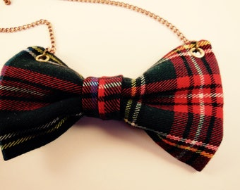 Knot necklace black & red tartan fabric