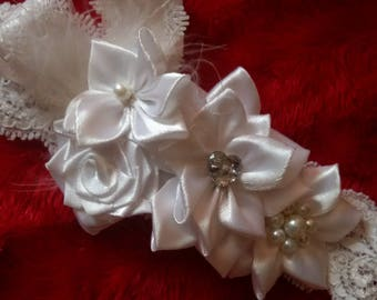 Pretty frilly headband feather ribbon diamante and pearls