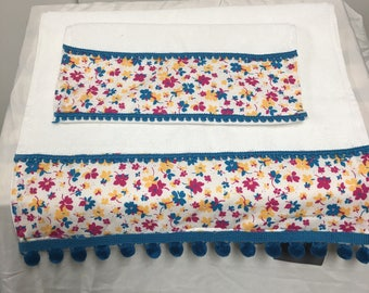Decorative White with Turquoise floral print and pom pom trim towels