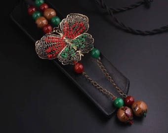 Handmade braided butterfly necklace