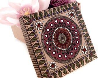 Kraft box Gift box Jewelry box Indian Necklace box Wedding favor box Handmade gift Birthday Gift box Gift box with lid Gift box square