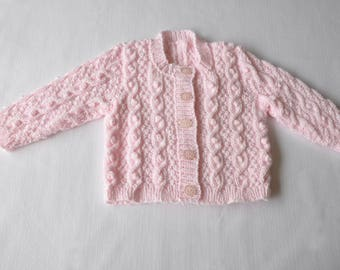 Patterned, hand knitted baby cardigan, baby knits, baby gift