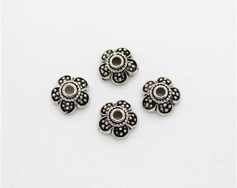 4 Beads Oxidized 925 Sterling Silver 7mm Flower Caps F427