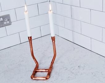 Copper candleholder, copper candlestick, copper candelabra, 7th anniversary, copper anniversary