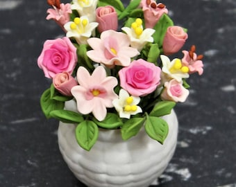 Dollhouse Miniature Handmade Clay Flower Arrangement in a White Porcelain Ceramic Vase. Premium Quality Beautiful Flower Design.