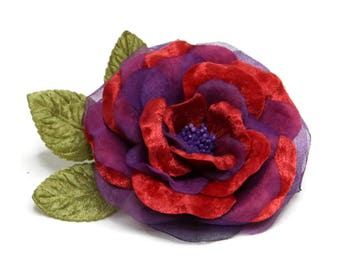 Vintage Handmade Red Purple Velvet Fabric Flower Corsage Brooch. High Quality Shabby Chic Fabric Flower Corsage Pin.