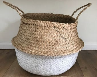 Large White Dipped Seagrass Basket, Belly Basket, Laundry Baskets, Storage Baskets