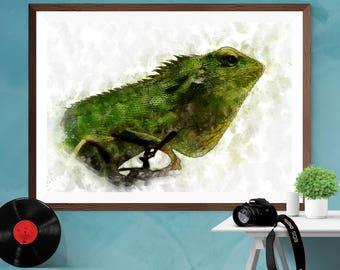 Iguana Watercolor painting Wall art Canvas / Silk / Matt Print