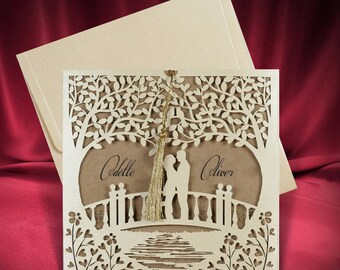 Laser Cut Rustic Wedding Invitation Card, Romantic Kraft Wedding Invites with Lovers on the Bridge, Personalized Printing, Free Shipping