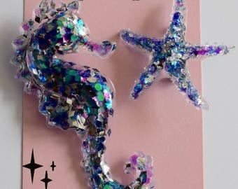 Resin Seahorse and Starfish Brooches