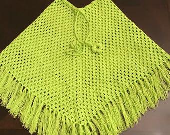 handmade poncho, kids ponchos, knit,  crochet poncho (4-6 years old)