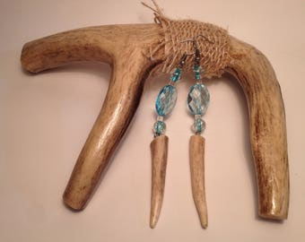 Blue Colored, White Tail Antler Tip Earrings