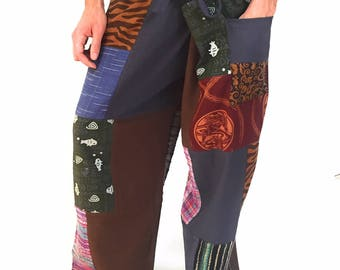 Mens Thai Pants, Fisherman Pants, Patchwork, Handmade, Fair Trade, Thailand, Mens Pants, Music Festival Clothing, Mens Clothing