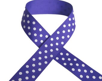 GROSGRAIN purple / white spotted, 1 meter x 25 mm