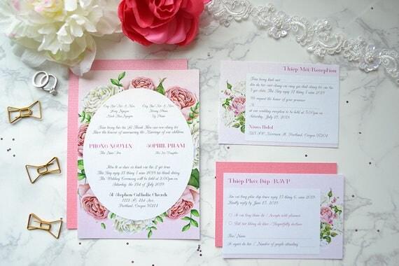 Bilingual Vietnamese Wedding Invitation // Vietnamese And English Wedding  Invitations // Pink And White Roses // DIY Wedding // Printable