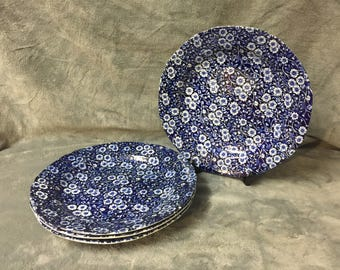 Set Of Four Crownford China Blue CALICO Staffordshire England Scalloped Edge Dinner Plates