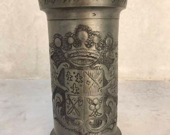 19th Century French Pewter Lidded Flagon Tankard ~ Engraved Coat of Arms