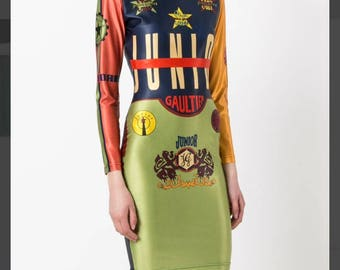 Jean Paul Gaultier vintage Junior Gaultier logo bodycon dress