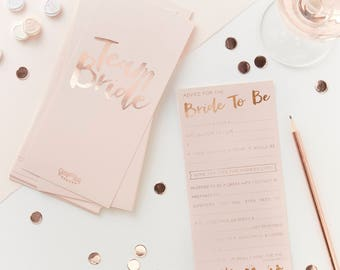 Pink & Rose Gold Team Bride Advice Cards, Hen Party Games, Hen Night Props, Advice For The Bride, Bride to Be Advice Cards, 10 Pack