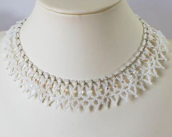 White Netted Collar Necklace, Woven Beaded Choker