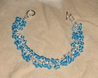 Shaggy Loops Aqua Bracelet