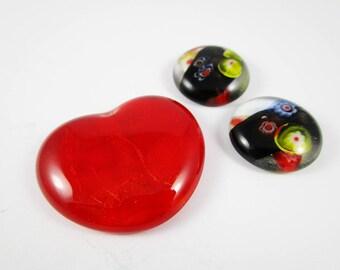 Mixed Glass Cabochon Parcel (3) Heart Cabochon Millifiori Cabochon Red Cabochon Fused Glass Cabochon Jewellery Pendant Feature Cabochon