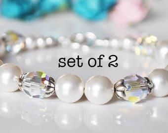 White Bridesmaid Bracelet Set, Pearl Bracelet, Bridesmaid Bracelets, Bridal Jewellery, Bridesmaid Gifts, Wedding Gifts
