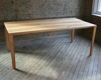 Modern Parsons Table, made from all salvaged / reclaimed wood with natural finishes