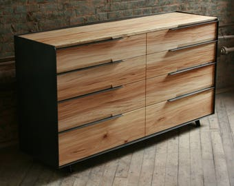 Double Dresser in Reclaimed Wood and Blackened Steel , with natural finishes.
