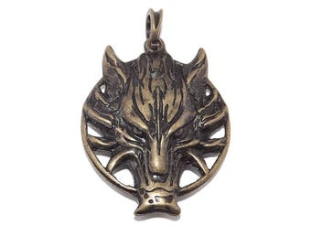 LARGE Brass Plated Viking Fenrir (Fenris) Wolf Pendant