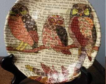 Decoupaged Plate, Decorative Plate, Owl Plate