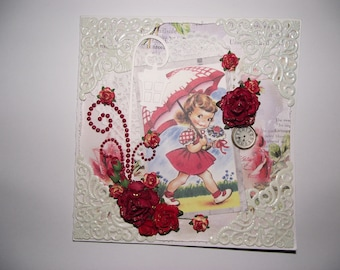 Handmade card in red and white colors