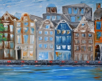 Amsterdam street. Original oil painting on canvas, Oil painting, City architecture, impasto art on canvas by Alekseenko 35x24 inches