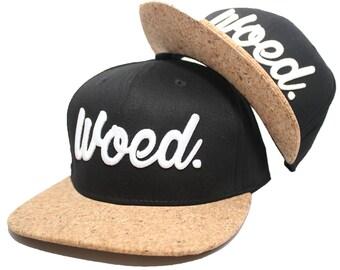 Woed - snapback – Real Cork – acrylic - adult size – Black