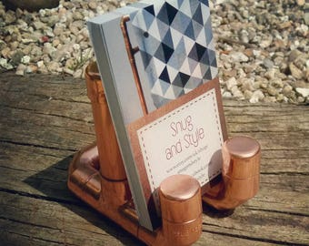 Copper pipe business card holder stand