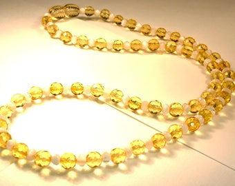 Natural Baltic Amber Necklace Faceted Beads and Pearl Imitation