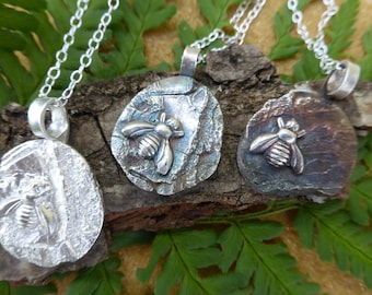 Fine silver pendant, bee emblem on bark texture, gift for her
