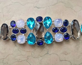 BRACELET topazes, sapphires and chalcedony 925 antique silver plated