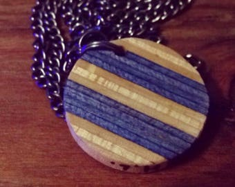 Blue Circle Skateboard Necklace
